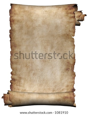 Manuscript, burnt rough roll of parchment paper texture background - stock photo