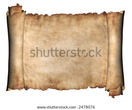 Manuscript horizontal burnt rough roll of parchment paper texture background - stock photo