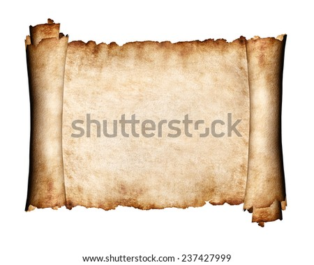 Manuscript, unfolded piece of parchment antique paper grungy texture background - stock photo