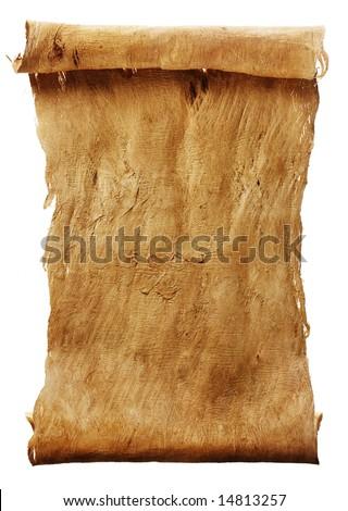 Manuscript vertical burnt rough roll of parchment bark texture background - stock photo