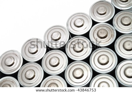 Many AA Batteries Isolated on White
