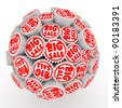 Many abstract Big sale stamps in form of sphere isolated on white background. 3d Illustration. Close-up - stock photo