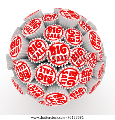 Many abstract Big sale stamps in form of sphere isolated on white background. 3d Illustration. Close-up