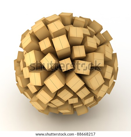 Many abstract cardboard BOXES in form of sphere isolated on white background. 3d Illustration. Close-up - stock photo