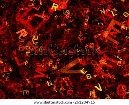 many abstract chaotic red alphabet letters - stock photo