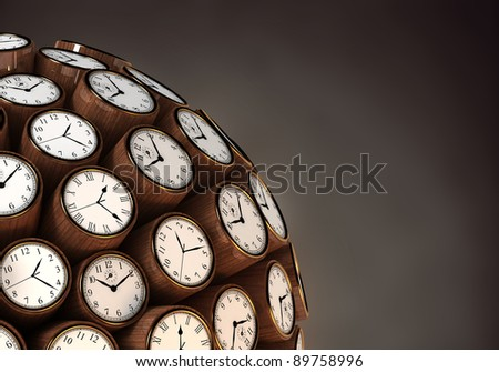 Many abstract classic wall clock watch in form of sphere isolated on black background. 3d Illustration. Close-up - stock photo