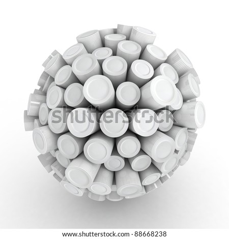 Many abstract clean Plates in form of sphere isolated on white background. 3d Illustration. Close-up - stock photo