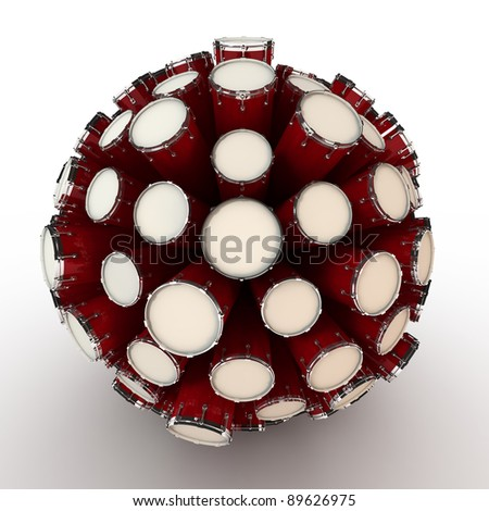 Many abstract drums in form of sphere isolated on white background. 3d Illustration. Close-up - stock photo