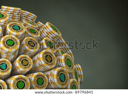 Many abstract Gold Casino Chips in form of sphere isolated on black background. 3d Illustration. Close-up - stock photo