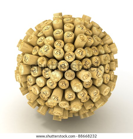 Many abstract gold coins in form of sphere isolated on white background. 3d Illustration. Close-up