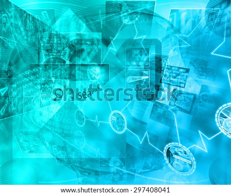 Many abstract images on the theme of computers, Internet and high technology.