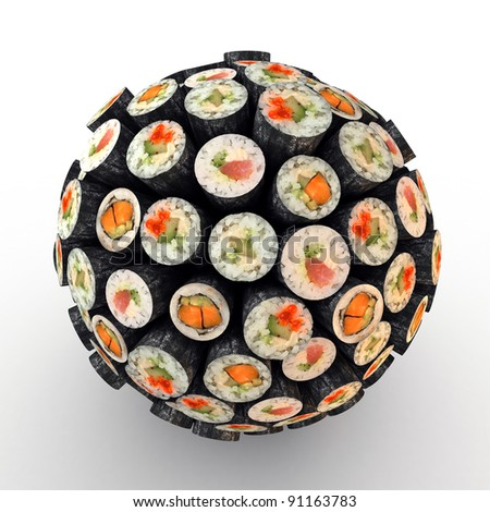 Many abstract maki sushi rolls in form of sphere isolated on white background. 3d Illustration. Close-up - stock photo