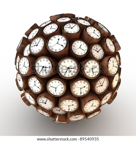 Many abstract wall clock in form of sphere isolated on white background. 3d Illustration. Close-up