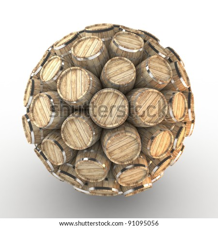Many abstract wood barrels in form of sphere isolated on white background. 3d Illustration. Close-up - stock photo