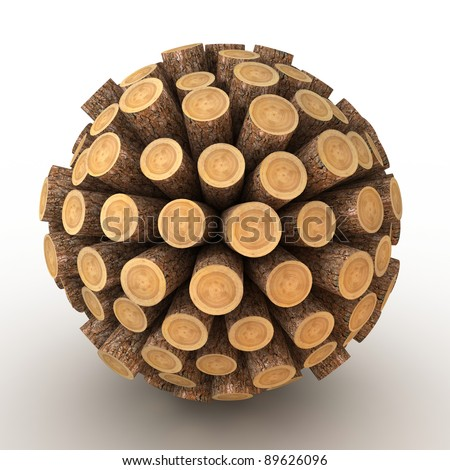 Many abstract wood Tree stumps in form of sphere isolated on white background. 3d Illustration. Close-up - stock photo