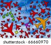 Many airplanes on a crowded sky - stock photo