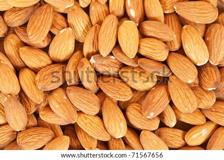 Many almond nuts, may be used as background - stock photo