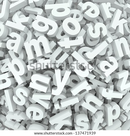 Many alphabet letters in a jumbled mess of a 3D display or background of words and messages - stock photo