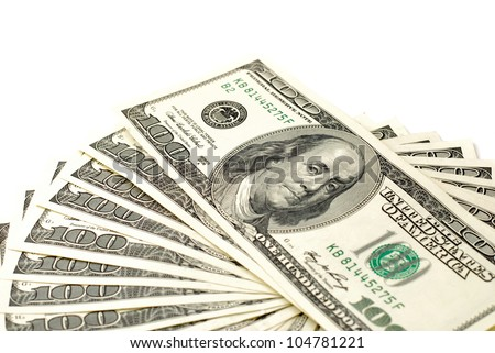 many american dollars, one hundred - stock photo
