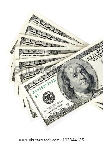 many american dollars with nominal value ?ne hundred - stock photo