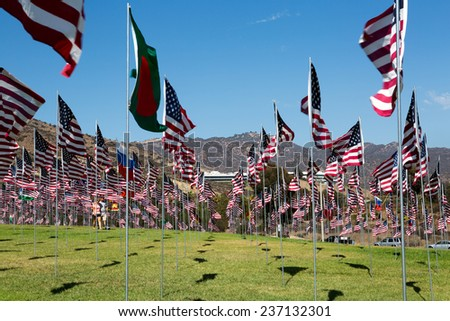 Many American flags in windy weather - stock photo