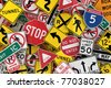 Many american traffic signs mixed together - stock