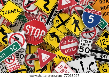Many american traffic signs mixed together - stock photo