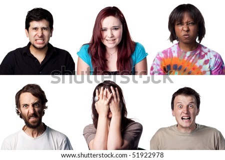 Many angry faces, all full size images - stock photo