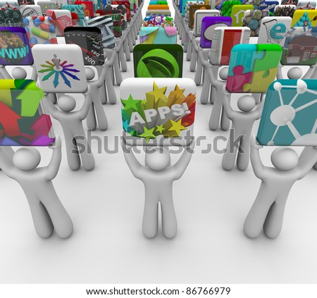Many application developers present their apps for sale in a marketplace built for mobile phones, tablet computers and other devices to buy and download software - stock photo