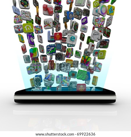 Many application icons are downloaded into a modern black smart phone, appearing to float over the device - stock photo