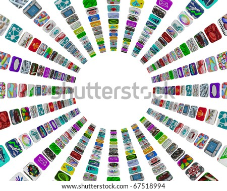 Many apps in a circular pattern of tile buttons on a white background - stock photo
