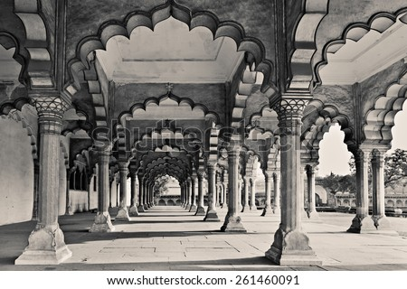 Many arches inside Red Fort, Agra, India - stock photo