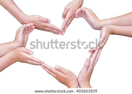 Many arms of children construct heart shape isolated on white background - stock photo