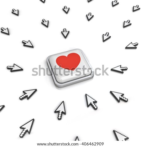 Many arrow cursors mouse clicking red heart button or link isolated on white background with reflection. 3D rendering.