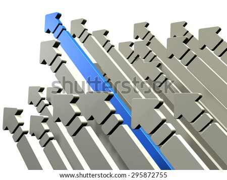Many arrows are increased. One of them, represents the victory. - stock photo