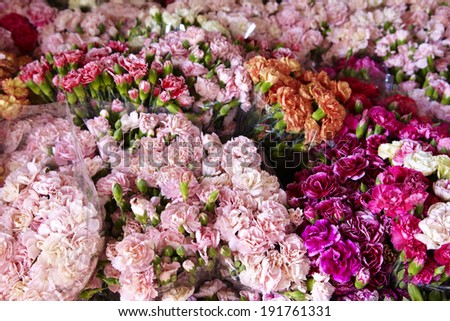 many asian flower in shop - stock photo