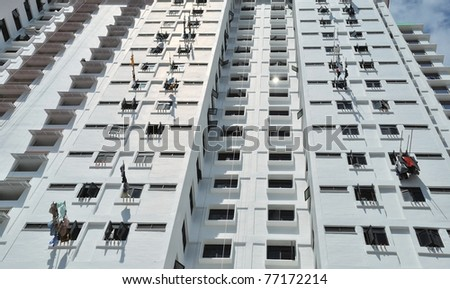Many balconies of a building, Singapore - stock photo
