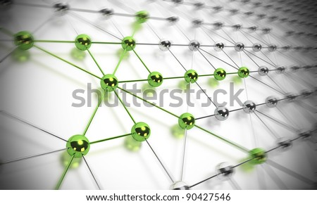 many balls linked together and composing a network, some spheres are green and others are made in chrome material, blur effect - stock photo