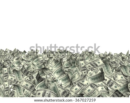 Many banknotes of dollars. Isolated on white background - stock photo
