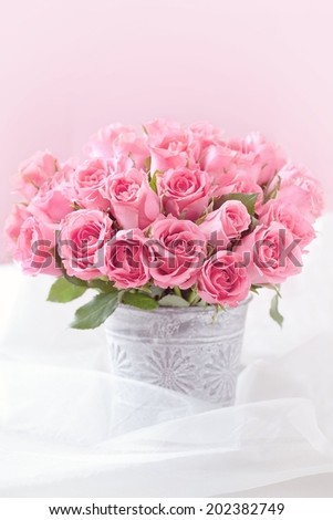 many beautiful fresh pink roses on a table. - stock photo