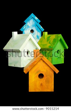 "Many Birdhouses from the ""Nesting for Peace"" project"