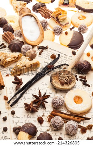 Many biscuits and spices - stock photo