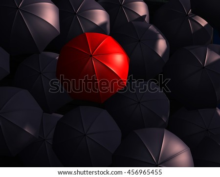 Many black and red umbrella.3D illustration