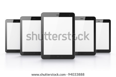 Many black tablet pc, 3d render. Tablet computer isolated on white - stock photo