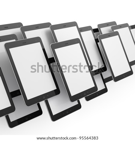 Many black tablet pc, 3d render. Tablet computer isolated on white
