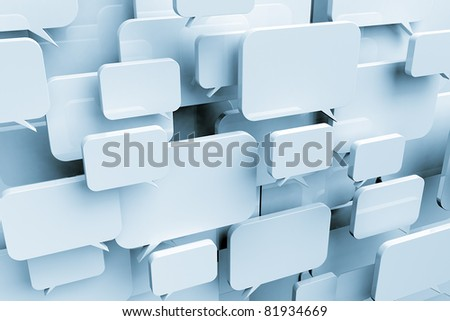 Many blank speech bubbles forming a cloud - stock photo