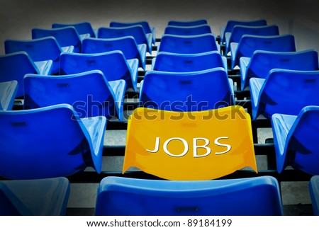 Many  blue and yellow seat  with jobs wording ,job concept