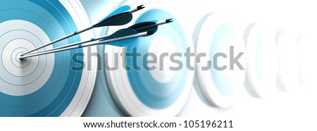 many blue targets and three arrows reaching the center of the first one, fading from blue to white blur effect, horizontal format banner. Strategic marketing or business competitive advantage concept.