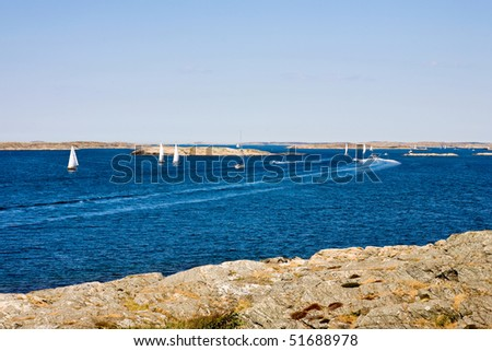 Many boats in the archipelago - stock photo