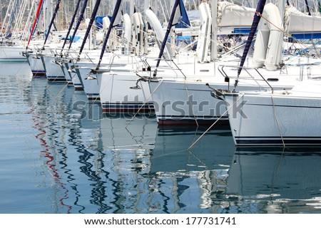 Many boats moored in the harbor. Marina in the Mediterranean - stock photo
